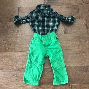 Gap boys collared shirt & pants size 12-18 months